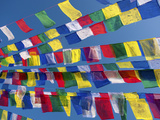 Colourful Prayer Flags Against Clear Blue Sky at Bodhnath Stupa (Boudhanth) (Boudha), One of the Ho Photographic Print by Lee Frost