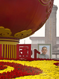 Portrait of Sun Yat Sen, Tiananmen Square, Decorated with a Globe and Flowers During National Day F Photographic Print by Kimberly Walker