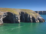 Caves at Raming Hole, Looking Towards Stackpole Head, Pembrokeshire, Wales, United Kingdom, Europe Photographic Print by David Clapp