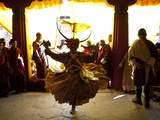 Buddhist Monk Practising His Dance before Taking Part in a Performance at the Gangtey Tsechu at Gan Photographic Print by Lee Frost