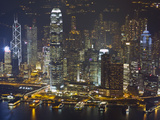 High Angle View of Central, the Main Financial District, at Night, Hong Kong Island, Hong Kong, Chi Photographic Print by Amanda Hall