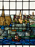 Detail from a Stained Glass Window in the Church of All Hallows by the Tower, the Oldest Church in  Photographic Print by Kimberley Coole