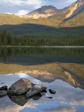 Perfect Reflection, Early Morning at Pyramid Lake, Jasper National Park, UNESCO World Heritage Site Photographic Print by Martin Child