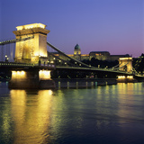 Royal Palace (Budavari Palota) (Buda Castle) and Chain Bridge at Dusk, UNESCO World Heritage Site,  Photographic Print by Stuart Black