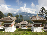 Some of the 108 Chortens Located at the Summit of the Dochu La Pass with Views Towards Mountains Be Photographic Print by Lee Frost