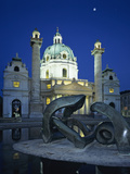 Karlskirche at Night with Henry Moore Sculpture in Foreground, Vienna, Austria, Europe Photographic Print by Stuart Black