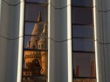 Fishermen's Bastion (Halaszbastya) Reflected in Windows of Hilton Hotel, Buda, Budapest, Hungary, E Photographic Print by Stuart Black