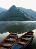 Two Boats on Jintang Lake Beside Great Wall of China, UNESCO World Heritage Site, Huanghuacheng (Ye Photographic Print by Kimberly Walker