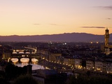 Ponte Vecchio, River Arno and Palazzo Vecchio in Evening Light from Piazzale Michelangelo, Florence Photographic Print by Peter Barritt