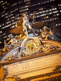 Statue of Mercury and Clock on the 42nd Street Facade of Grand Central Terminus Station, Manhattan, Photographic Print by Gavin Hellier