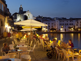 Cafe on Harbour, Cadaques, Costa Brava, Catalonia, Spain, Mediterranean, Europe Fotoprint van Stuart Black