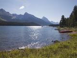 Morning Light on Maligne Lake with Canoes on Shoreline, Jasper National Park, UNESCO World Heritage Photographic Print by Martin Child