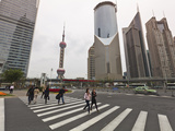 Pedestrian Crossing in Pudong, the Financial and Business Centre. Oriental Pearl Tower in Centre, S Photographic Print by Amanda Hall