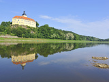 Castle Hirschstein Reflected in the River Elbe, Saxony, Germany, Europe Photographic Print by Michael Runkel
