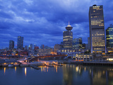 Skyline and the Waterfront in the Evening from Canada Place with the Seabus Terminal and Harbour Ce Photographic Print by Martin Child