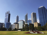 Skyscrapers of the Central Business District (Cbd) Tower over the Esplanade at Perth, Western Austr Photographic Print by Stuart Forster