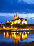 Castle of Meissen at Night Above the River Elbe, Saxony, Germany, Europe Photographic Print by Michael Runkel
