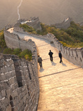 Three Men Walking on Great Wall of China, UNESCO World Heritage Site, Huanghua Cheng (Yellow Flower Photographic Print by Kimberly Walker
