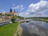 Cruise Ship on the River Elbe Below the Albrechtsburg, Meissen, Saxony, Germany, Europe Photographic Print by Michael Runkel