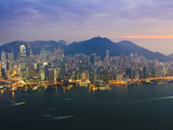 Cityscape of Hong Kong Island Skyline at Sunset, Hong Kong, China, Asia Photographic Print by Amanda Hall