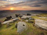 Sunset over Millstones, Froggatt and Curbar Edge, Peak District National Park, Derbyshire, England, Photographic Print by Chris Hepburn