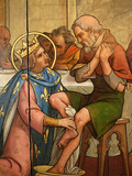 Painting Depicting St. Louis Washing a Pauper&#39;s Feet in Notre-Dame De Paris Cathedral Treasure Muse Photographic Print by  Godong