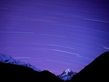 Long Exposure of Night Sky over Aoraki Mount Cook National Park, UNESCO World Heritage Site, South  Photographic Print by Ben Pipe