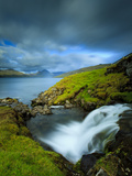 A Waterfall Cascading into the Vestmannasund, Oyrargjogv, Vagar Island, Faroe Islands, Denmark, Eur Photographic Print by Kimberley Coole
