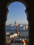 Parliament (Orszaghaz) and River Danube Through Arches of Fishermen's Bastion (Halaszbastya), UNESC Photographic Print by Stuart Black