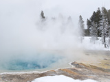 West Thumb Geyser Basin Winter Landscape with Geothermal Spring, Yellowstone National Park, UNESCO  Photographic Print by Kimberly Walker