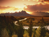 Teton Range at Sunset, Grand Teton National Park, Wyoming, USA Photographic Print by Adam Jones