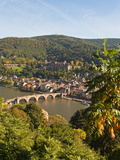 View of the Alte Brucke (Old Bridge), Neckar River Heidelberg Castle and Old Town from the Philosop Photographic Print by Michael DeFreitas