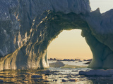 Midnight Sun Lights Iceberg from Jakobshavn Glacier, Disko Bay, Ilulissat, Greenland Photographic Print by Paul Souders