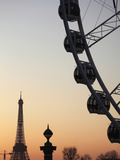 Ferry Wheel in Place De La Concorde with Eiffel Tower in the Background Near Sunset, Paris, France Photographic Print by Bruce Yuanyue Bi