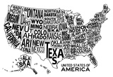United States of America Stylized Text Map - Afiş