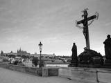 Dawn View of Charles Bridge and Prague Castle, Prague, Czech Republic Photographic Print by Walter Bibikow