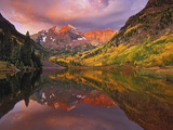 Maroon Bells Reflected on Maroon Lake at Sunrise, White River National Forest, Colorado, USA Photographic Print by Adam Jones