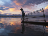 Intha Fisherman Rowing Boat with Fishing Net on Inle Lake, Myanmar, Asia Photographic Print by Keren Su