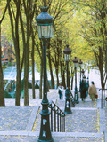 Autumn, Rue De Foyatier Steps to the Place Du Sacre Coeur, Montmartre, Paris, France Photographic Print by Walter Bibikow