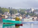 Boats in Morning Fog. Corea, Maine, Usa Photographic Print by Jerry & Marcy Monkman
