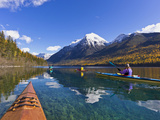 Sea Kayaking on Bowman Lake in Autumn in Glacier National Park, Montana, Usa Photographic Print by Chuck Haney
