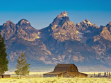 Teton Front Range and Mormon Barn at Sunrise, Grand Teton National Park, Wyoming, Usa Photographic Print by Mark Williford