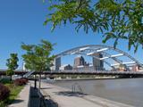 Frederick Douglas and Susan B Anthony Memorial Bridge, Genessee River, Rochester, New York, Usa Fotodruck von Bill Bachmann