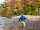 A Man Fly-Fishing on the Swift River in Albany, White Mountains, New Hampshire, Usa Photographic Print by Jerry & Marcy Monkman