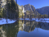 Yosemite Falls Reflected in Merced River, Yosemite National Park, California, Usa Photographic Print by Jamie & Judy Wild