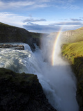 Rainbow Forms as Hvita River Pours over Gullfoss Waterfall, Arnessysla County, Iceland Stampa fotografica di Paul Souders