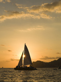 Sailboat at Sunset, Bay of Land's End (El Arco),Cabo San Lucas, Baja, Mexico Photographic Print by Michele Westmorland
