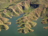 Aerial View of Shoreline of Lake Argyle, Kimberley Region, Western Australia, Australia Photographic Print by David Wall