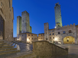 Piazza Duomo at Twilight, San Gimignano, Tuscany, Italy Photographic Print by Rob Tilley