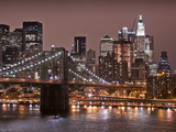 Brooklyn Bridge, East River with Lower Manhattan Skyline in Distance, Brooklyn, New York, Usa Photographic Print by Paul Souders